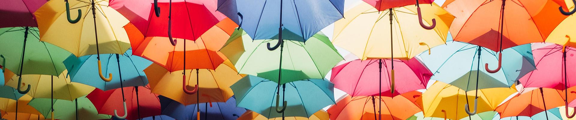 Paraplyer i forskjellige farger.