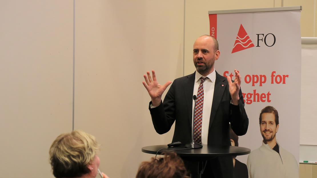 Arbeiderpartiets Arild Grande engasjerte FOs landsstyremøte.