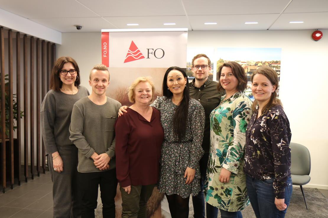 #HEIERNA: Marianne Solberg (nestleder i FO), Ole Henrik Kråkenes (plasstillitsvalgt FO), Mimmi Kvisvik (forbundsleder FO), Ine Haver, Christian Wiik Kynsveen (forbundsledelsen i FO), Kathrine Haugland Martinsen (forbundsledelsen FO), og Eilen Sjursen (hovedtillitsvalgt FO).