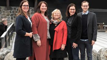 FO: Forbundsledelsen i FO ved Marit Selfors Isaksen, Kathrine Haugland Martinsen, Mimmi Kvisvik, Marit Solberg og Christian Wiik Kynsveen.
