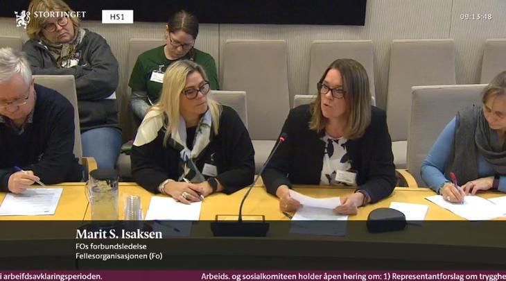 HØRING: FOs Marit Selfors Isaksen sa at AAP-ordningen viser at velferdssystemet ikke alltid virker som vi tror.