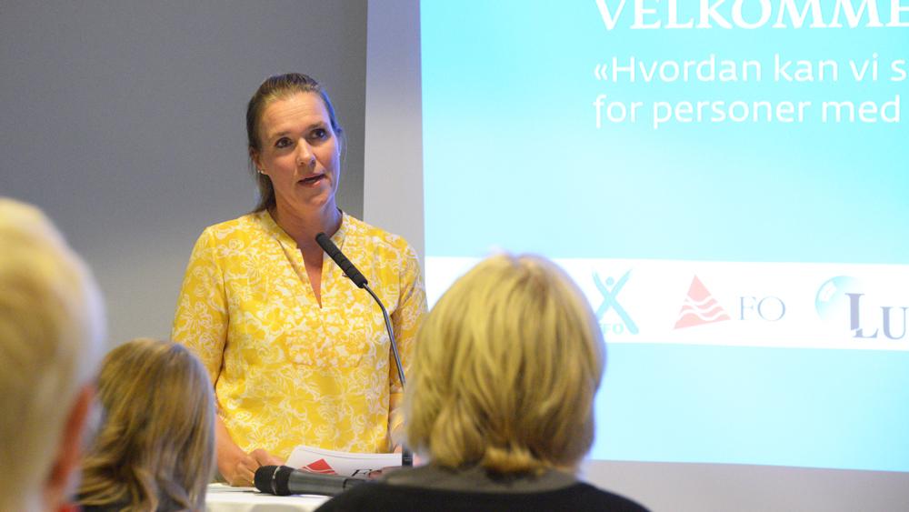 Marit S. Isaksen i forbundsledelsen holder innlegg under Arendalsuka 2019.
