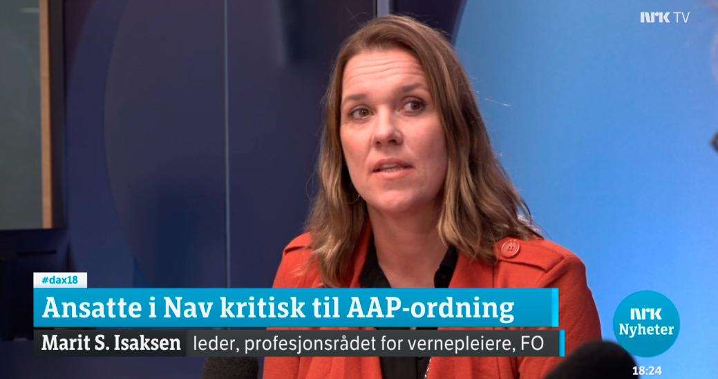 FOs Marit S. Isaksen stilte NAV-direktør til veggs om AAP på NRK Dagsnytt 18