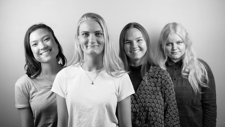 FO-Studentenes sentralstyre 2020: FV: Emilie Engan Bjørbu (Nestleder), Iris Jansdottir Nordberg (Leder), Sigrid Nesheim (representant for sosionomstudentene) og Sunniva Nornes Pedersen (representant for velferdsviterstudentene).