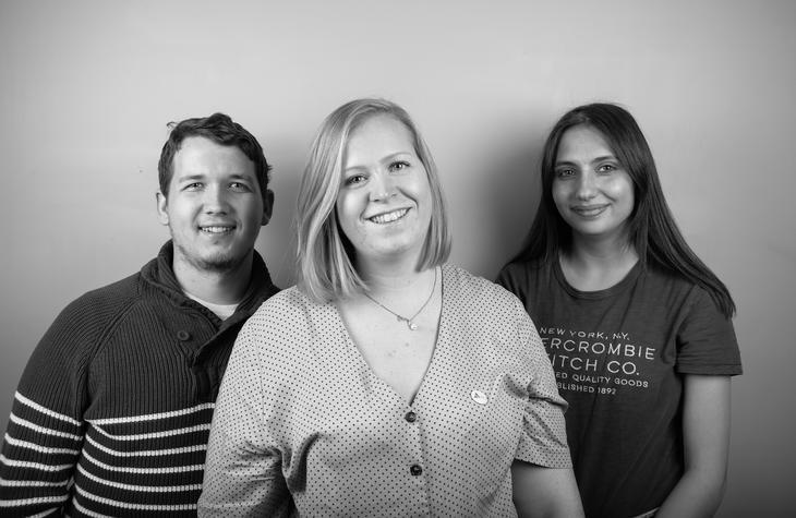 VALGKOMITE: FV: David Kristoffer Hegge, Anne-Linn Sekkingstad og Maria Stepanova