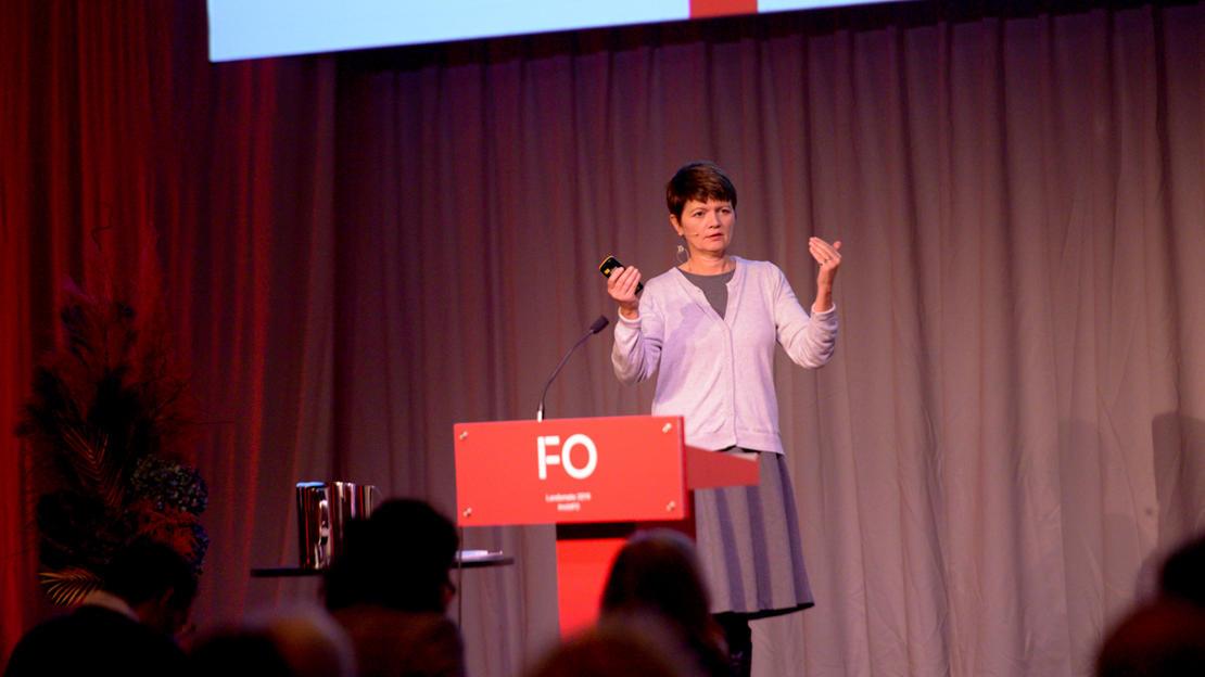 RAPPORTLANSERING: FAFO-forsker Inger Marie Hagen la frem rapporten som avdekker et alvorlig omfang av vold og trusler mot FOs medlemmer.