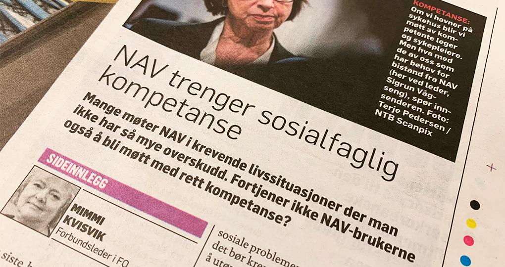 FO-leder Mimmi Kvisik med innlegg i Dagbladet