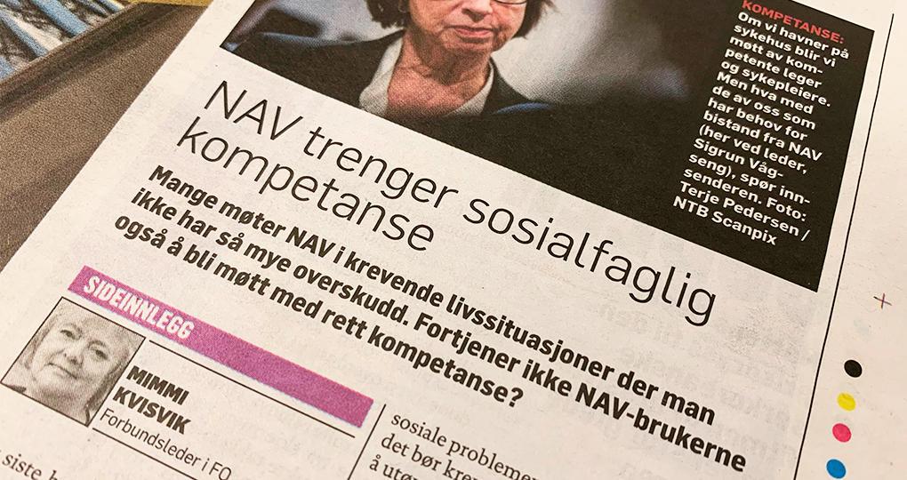 FO-leder Mimmi Kvisvik med innlegg i Dagbladet: NAV trenger sosialfaglig kompetanse
