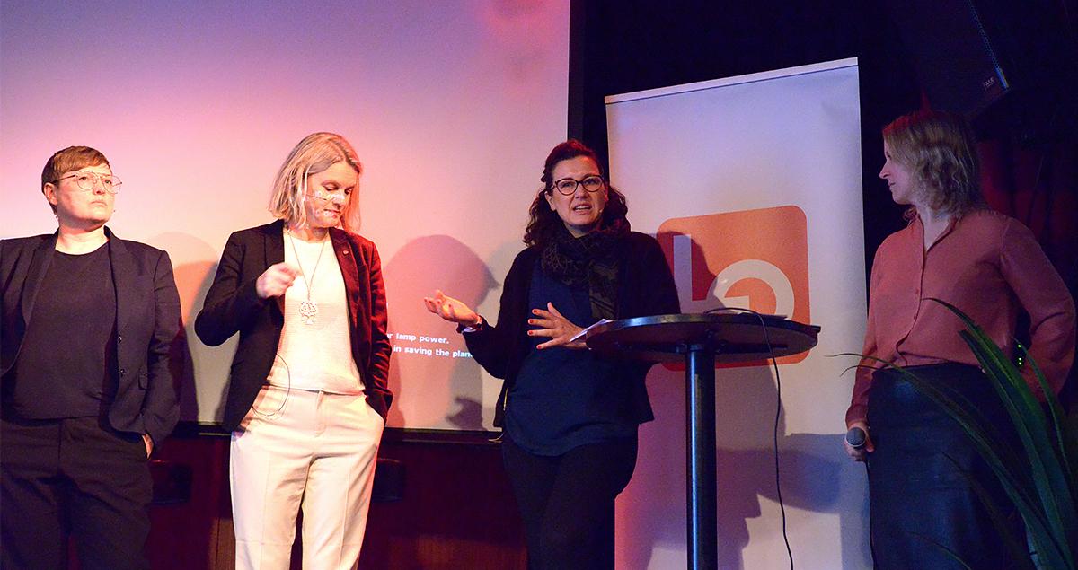 FO-nestleder Marianne Solberg i paneldebatt. Foto.
