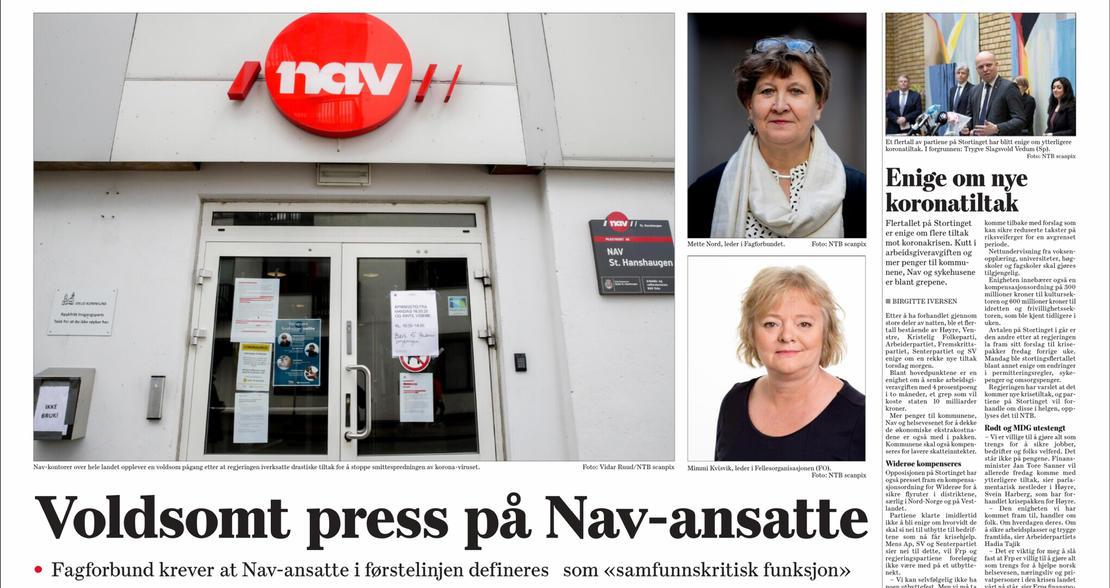 FO og Fagforbundet: Krever at Nav-ansatte i førstelinjen blir definert som «samfunnskritisk funksjon»