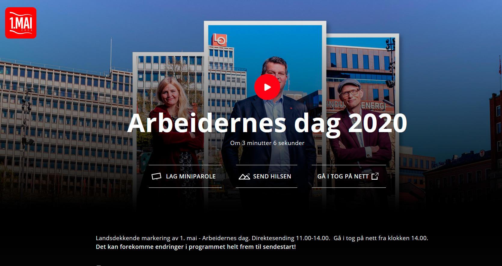 Her kan du følge med på livesendingen fra Folkets hus i Oslo og gå i det virtuelle toget. God 1. mai!