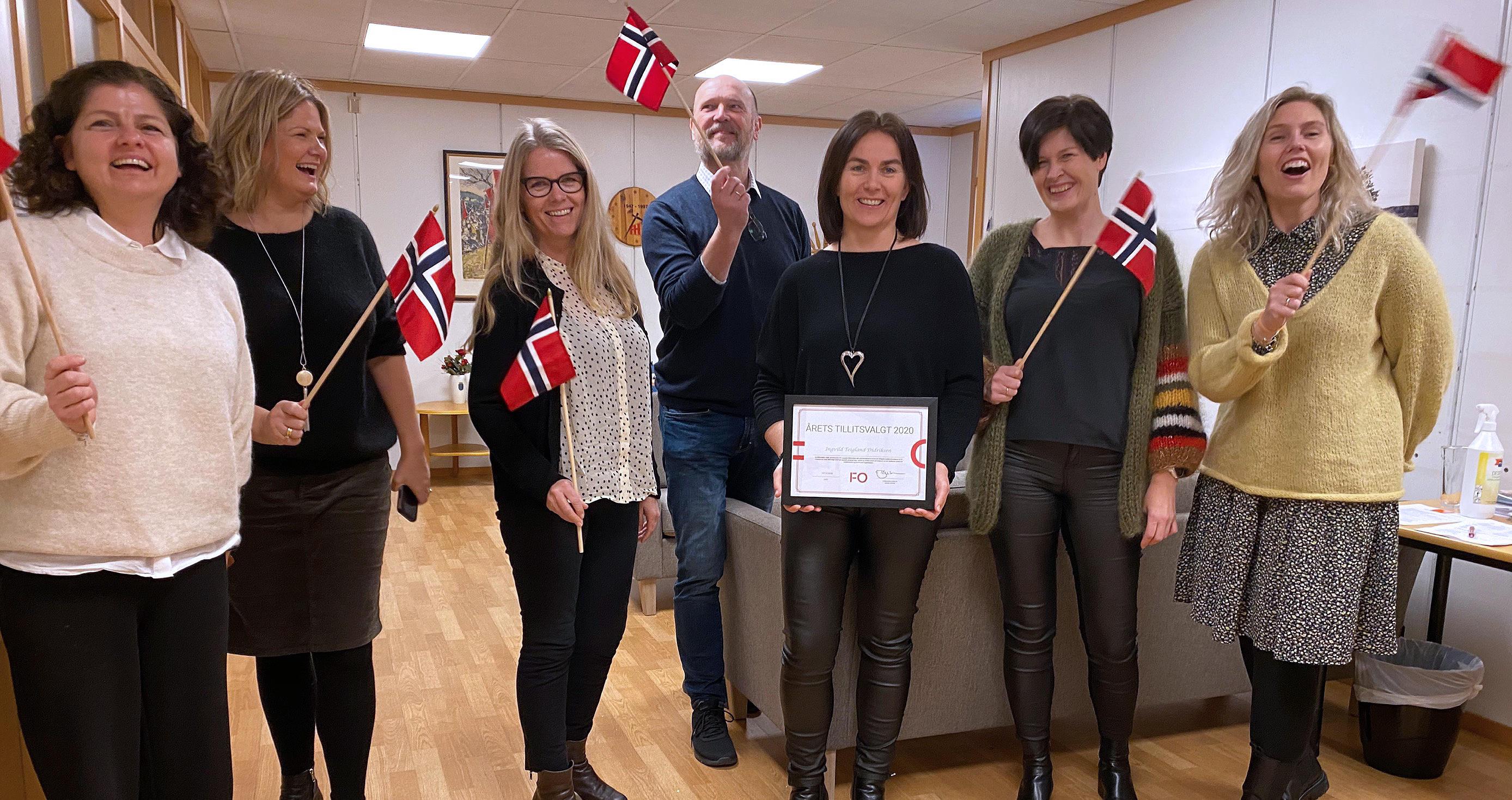 VINNER 2020: Ingvild Didriksen fra Rogaland ble feiret med stor jubel av sine kollegaer da hun ble kåret til Årets tillitsvalgt i fjor.