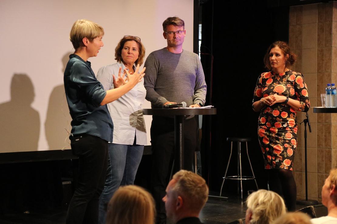 Forsker Anne Skevik Grødem (Institutt for samfunnsforskning / CORE), Likestillings- og diskriminseringsombud Hanne Bjurstrøm, sjefsøkonom i LO Roger Bjørnstad og nestleder i FO, Marianne Solberg Johnsen.