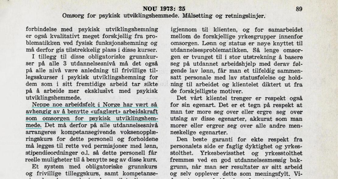 Utdrag fra en gammel rapport som viser at dette var et problem i 1973