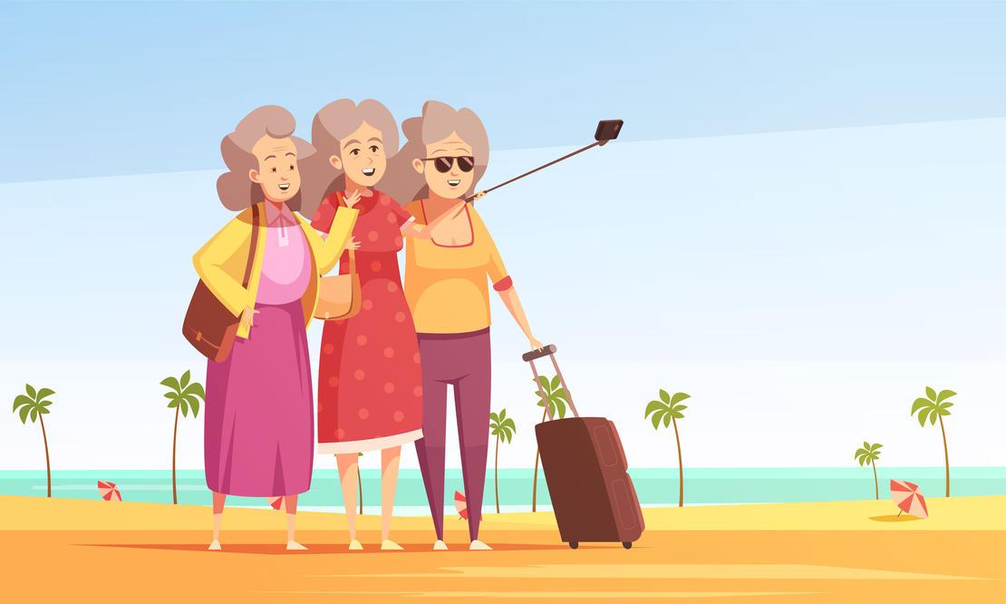 Illustrasjon: Pensjonister med selfiestick
