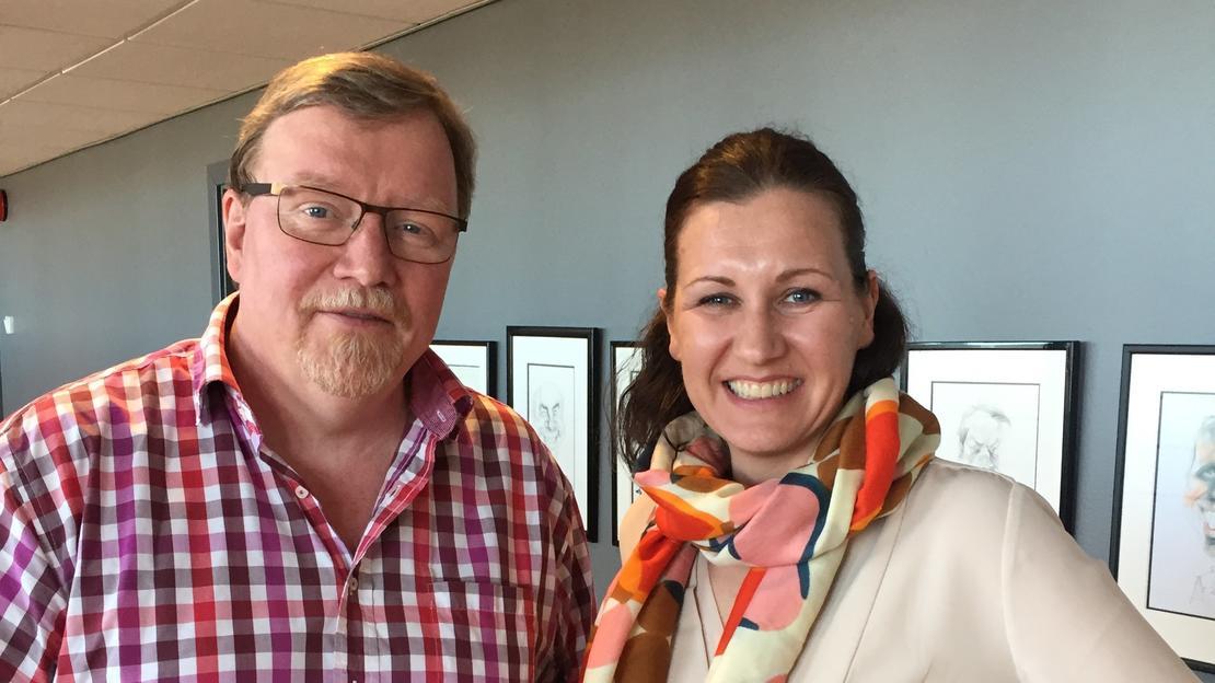 Eivind Gran, forhandlingsleder LO Stat og FOs nestleder Marianne Solberg Johnsen