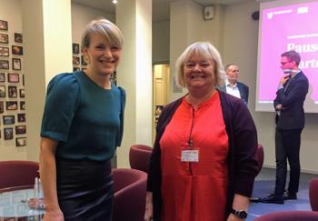 Medlem av stortingets finanskomite, Kari Elisabeth Kaski (SV) og forbundsleder Mimmi Kvisvik.