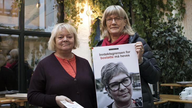 Inntektsgrensen for bostøtte må heves, krever FOs Mimmi Kvisvik sammen med leder for kommunalkomiteen, Karin Andersen (SV).